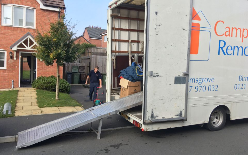 Bromsgrove removal firm Campbell's lorry with ramp for packing