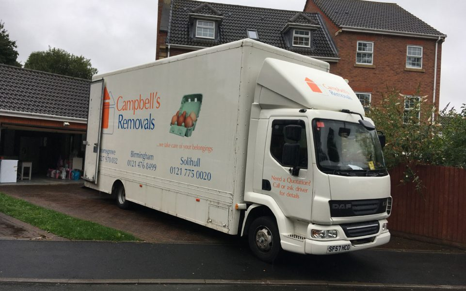Campbell's Removals lorry outside a house