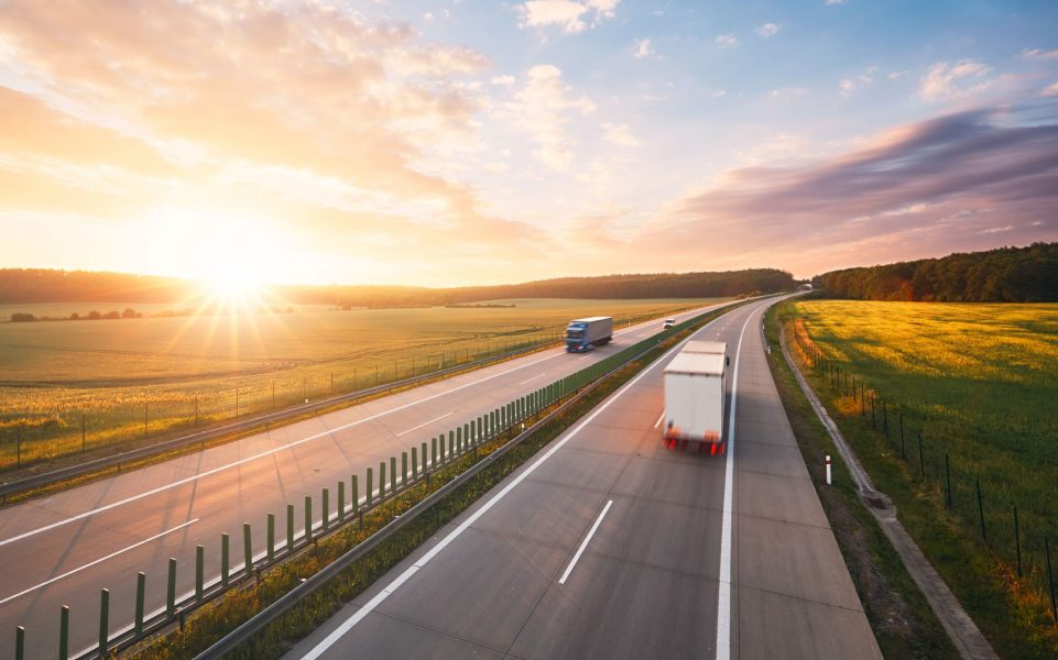 Scenic motorway image with removals lorry on